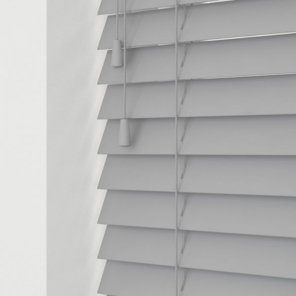Ash Grey wood venetian blinds with cords