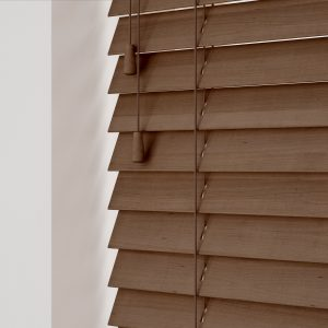 Auburn wood venetian blinds with cords