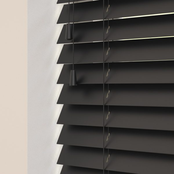 Carbon wood venetian blinds with cords
