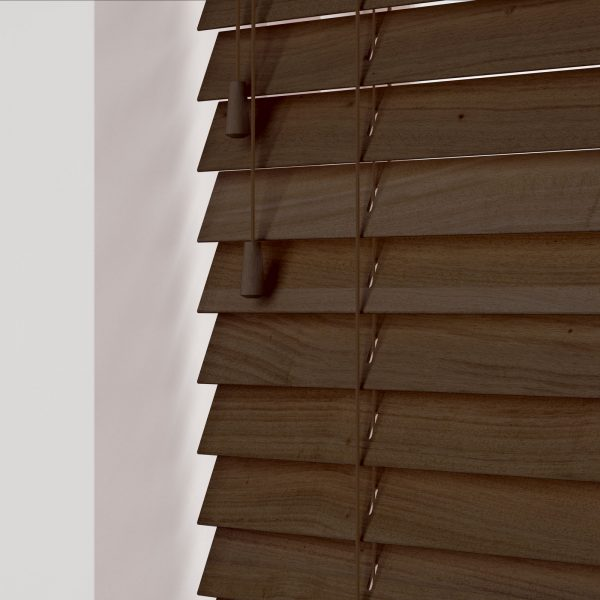 Fired Walnut wood venetian blinds with cords