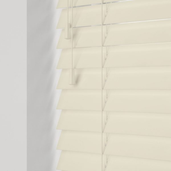 Gloss Creme wood venetian blinds with cords
