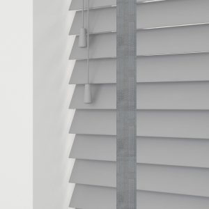 grey wood venetian blinds with tapes