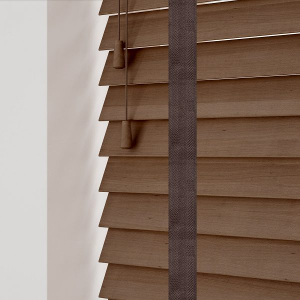 Auburn wood venetian blinds with tapes