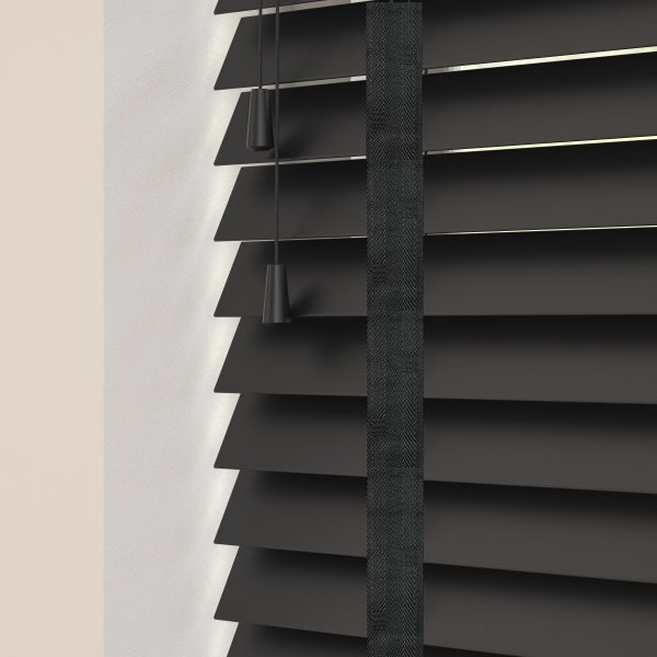 Carbon wood venetian blinds with tapes