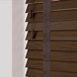 Fired Walnut wood venetian blinds with tapes