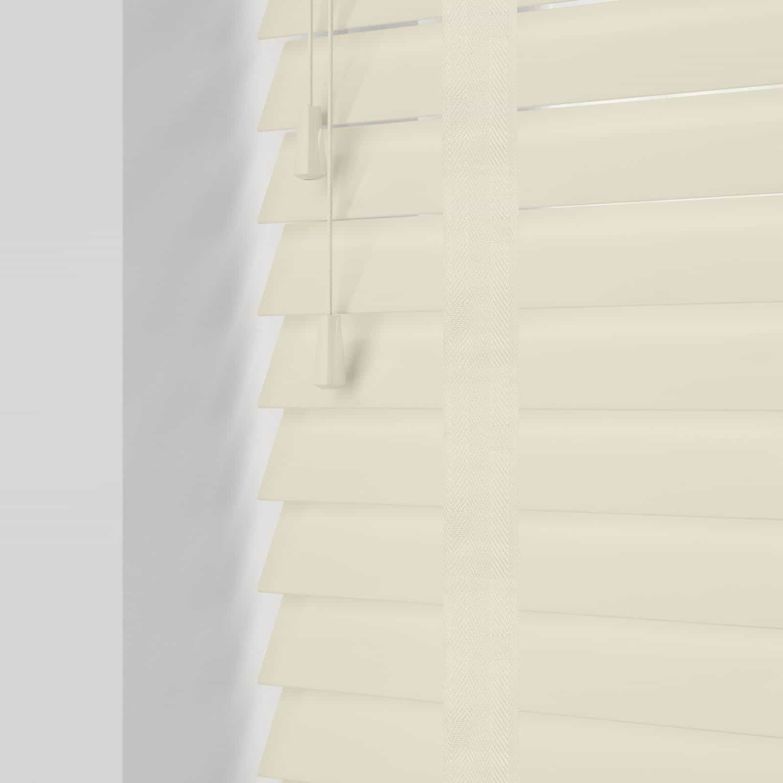 Gloss Cream Wood Venetian Blind With Tapes